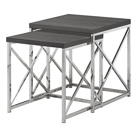 """Monarch Specialties Mila Nesting Tables, 21-1/4""""H x 19-3/4""""W x 19-3/4""""D, Gray/Chrome, Set Of 2 Tables"""