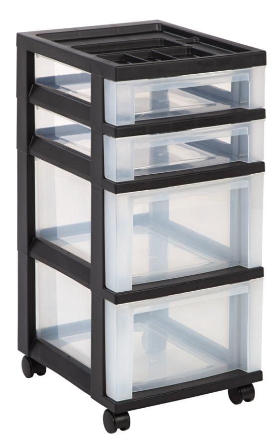 Office Depot Brand Plastic Storage Cart 4 Drawers 26 716 H x 12 116