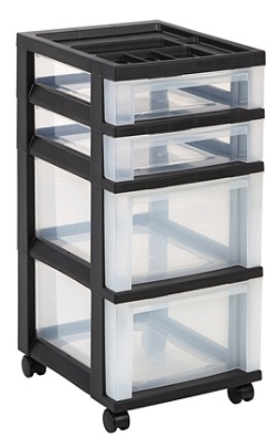Office Depot Brand Plastic Storage Cart 4 Drawers 26 716 H X 12 116 W 14 D Black By Officemax