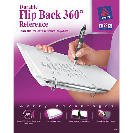 "Avery® Flipback Reference View Binder, 1"" Rings, White"