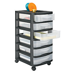 Office Depot Brand Medium Plastic Storage Cart 6 Drawers 27 H X