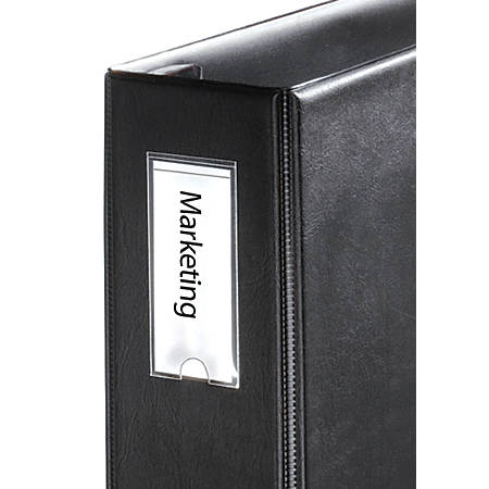 "Cardinal® HOLDit!® Label Holders For 1"" (Or Larger) Binders, 1 3/8"" x 3"", Pack Of 12"