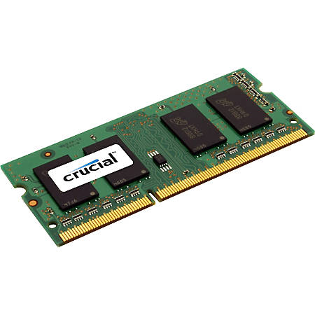 Crucial 4GB, 204-pin SODIMM, DDR3 PC3-12800 Memory Module - For Notebook - 4 GB - DDR3-1600/PC3-12800 DDR3 SDRAM - CL11 - 1.35 V - Non-ECC - Unbuffered - 204-pin - SoDIMM