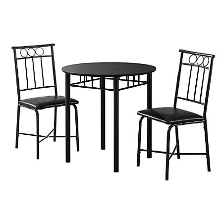 Monarch Specialties Owen Dining Table With 2 Chairs, Black