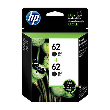 HP 62 Black Ink Cartridge (T0A52AN#140), Pack Of 2