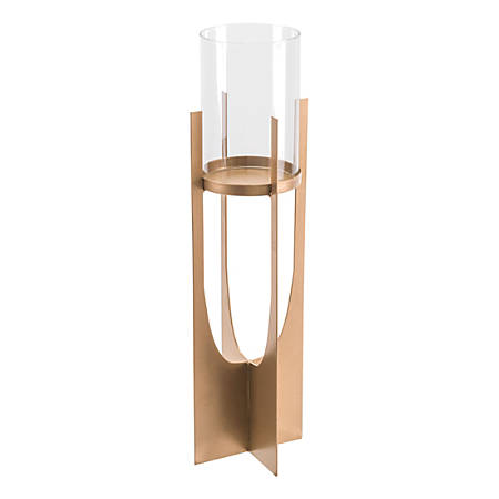 """Zuo Modern Equis Candle Holder, 17 3/4""""H x 5 1/8""""W x 5 1/8""""D, Gold"""