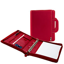 I e 3 ring padfolio with retractable handle 13 x 11 red Depot ringcenter