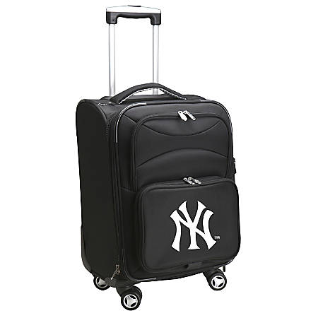 """Denco ABS Upright Rolling Carry-On Luggage, 21""""H x 13""""W x 9""""D, New York Yankees, Black"""