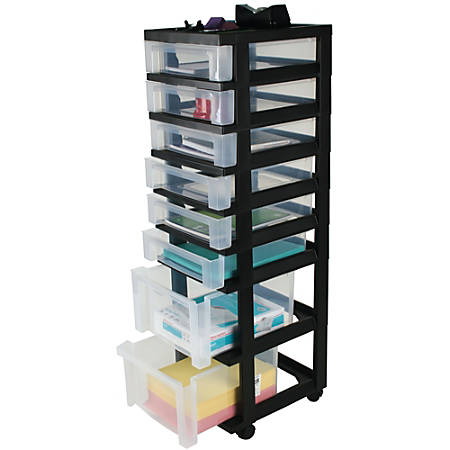 Office Depot Brand Plastic Storage Tower Cart 8 Drawers 41 4 5