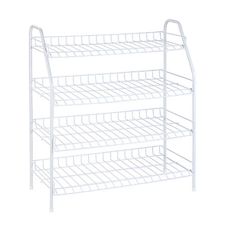 "Honey-can-do 4-Tier Shoe Shelf - 24 x Shoes - 3 Compartment(s) - 4 Tier(s) - 28"" Height x 4.3"" Width x 13"" Depth - White - Steel"