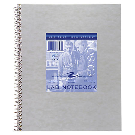 """Roaring Spring Wirebound Lab Notebook, Quad Ruled, 50 Sheets, 9"""" x 11"""", Gray"""