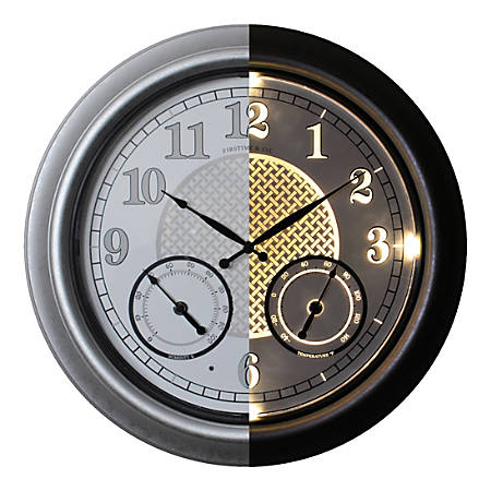 FirsTime & Co.® Radiant LED Outdoor Wall Clock, Galvanized Silver
