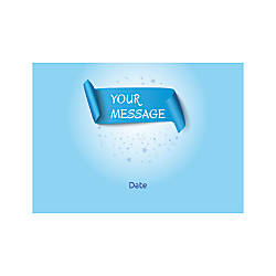 Flat Photo Greeting Card Blue Banner