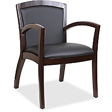 Lorell Arched Arms Bonded Leather Wood
