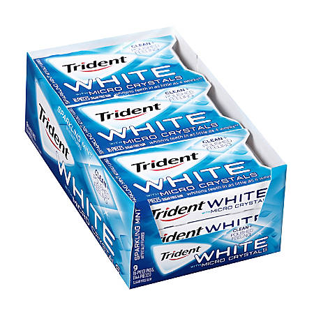Trident® White Sugar-Free Gum With Micro Crystals, 16 Pieces Per Pack, Box Of 9 Packs