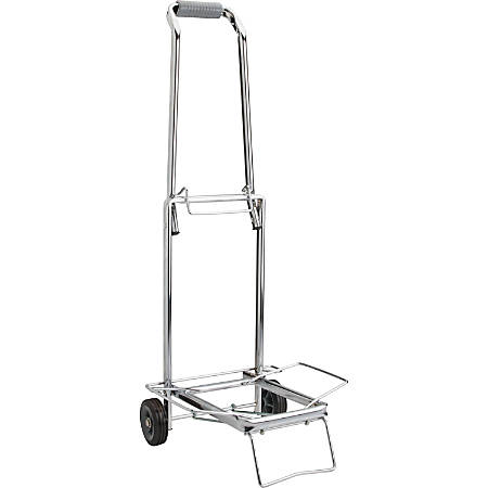 Sparco Compact Luggage Cart, 150 Lb Capacity, Chrome