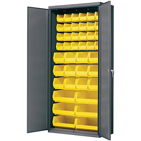 "Akro-Mils AkroBin Cabinet - 36"" x 18"" x 78"" - Flush Door(s) - 1000 lb Load Capacity - Heavy Duty, Back Panel, Durable, Key Lock, Welded - Gray, Yellow - Powder Coated - Steel, Metal, Steel"