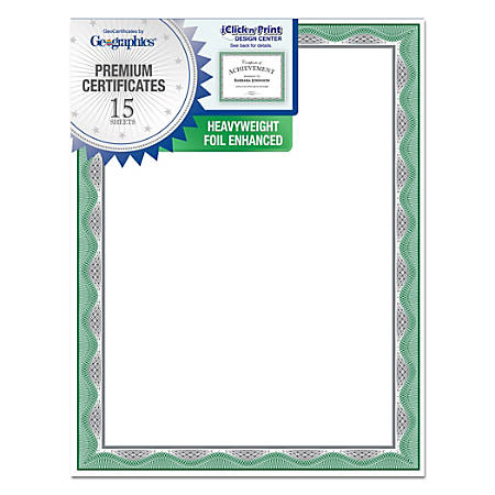Geographics® Silver Foil Heavyweight Certificates, Letter Paper Size, 65 Lb, Green Border, Pack Of 15 Certificates