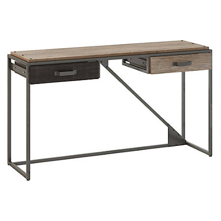 Bush Furniture Refinery Console Table With Drawers, Rustic Gray/Charred Wood, Standard Delivery