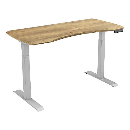"Loctek 55""W Height-Adjustable Desk, Silver/Wood"