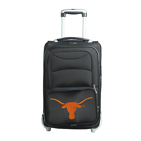 """Denco Sports Luggage NCAA Expandable Rolling Carry-On, 20 1/2"""" x 12 1/2"""" x 8"""", Texas Longhorns, Black"""