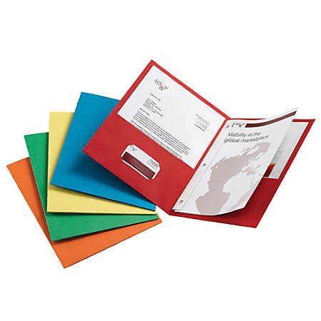 Office Depot® Brand Twin-Pocket Portfolios With Fasteners, Assorted Colors, Pack Of 25