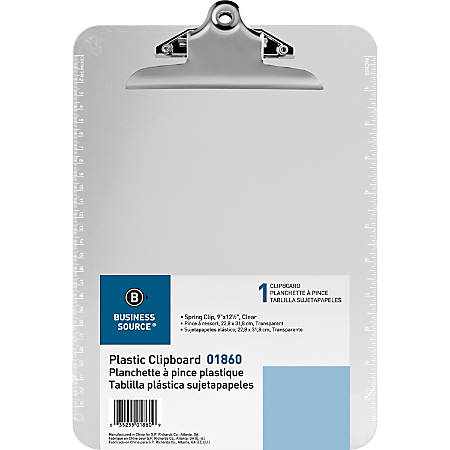 """Sparco Plastic Clipboard, 8 1/2"""" x 12"""", Clear"""