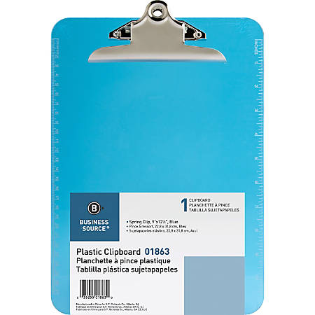 "Sparco Plastic Clipboard, 8 1/2"" x 12"", Blue"