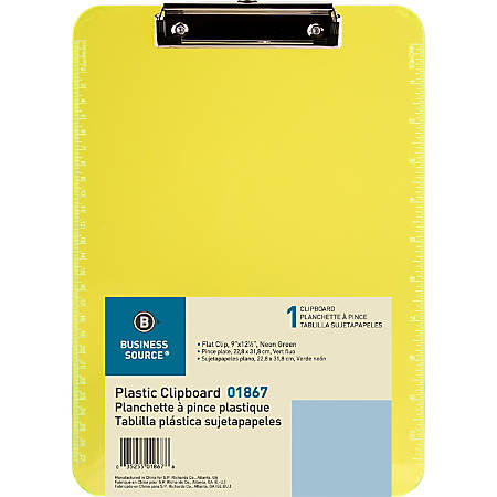"""Sparco Plastic Clipboard With Flat Clip, 8 1/2"""" x 11"""", Neon Green"""