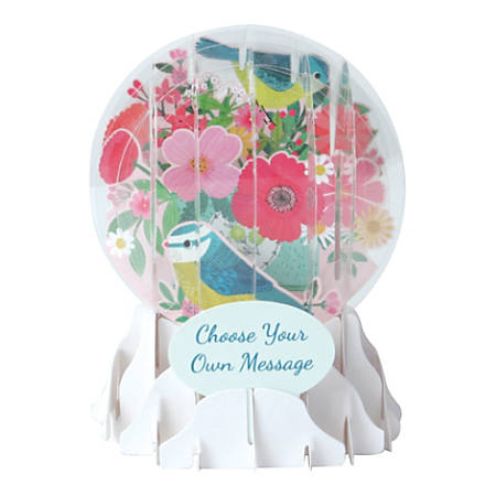 """Up With Paper Everyday Pop-Up Greeting Card, Snow Globe, 5"""" x 3-3/4"""", Bird And Flower Bouquet"""