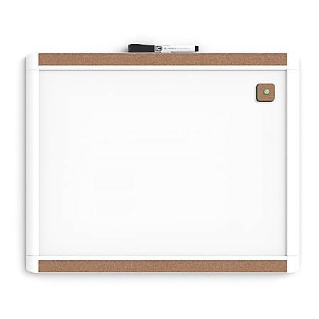 "U Brands PINIT Magnetic Dry-Erase Bulletin Board, Painted Steel/Aluminum, 20"" x 16"", White, Plastic Frame"