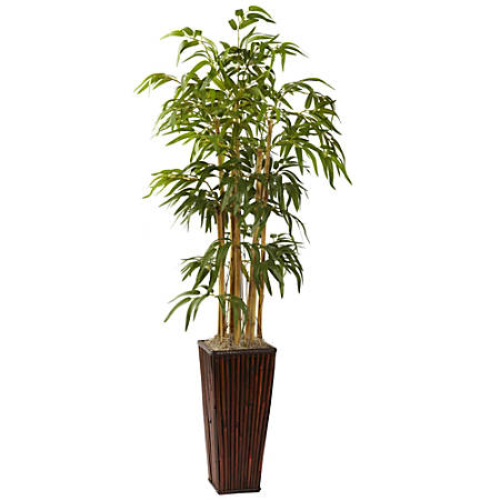 Nearly Natural 4'H Silk Bamboo Tree With Decorative Planter, Green