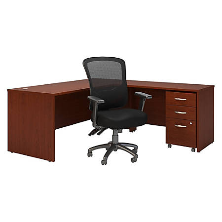 "Bush Business Furniture Components 72""W L-Shaped Desk With Mobile File Cabinet And High-Back Multifunction Office Chair, Mahogany, Standard Delivery"