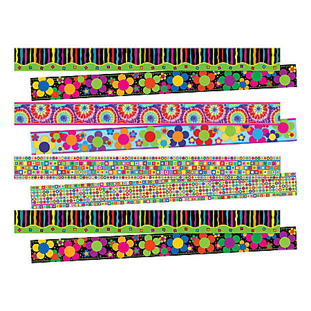 """Barker Creek Double-Sided Border Set, 3"""" x 35"""", Just Groovy, 12 Strips Per Pack, Set Of 4 Packs"""