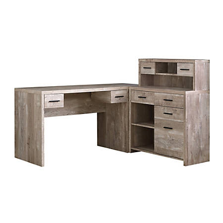 Monarch Specialties L-Shaped Computer Desk With Hutch, Taupe Woodgrain