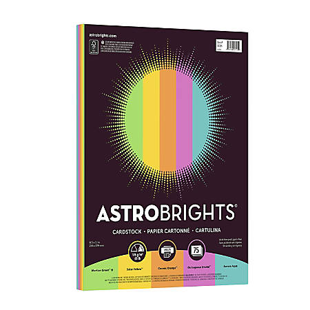 Astrobrights® Bright Cover Paper, Letter Paper Size, 65 Lb, FSC® Certified, Limited Edition Assorted Colors 2, Ream Of 75 Sheets
