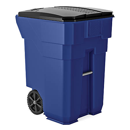 """Suncast Commercial Wheeled Square HDPE Trash Can, 96 Gallons, 43-1/2""""H x 30-1/4""""W x 35""""D, Blue"""