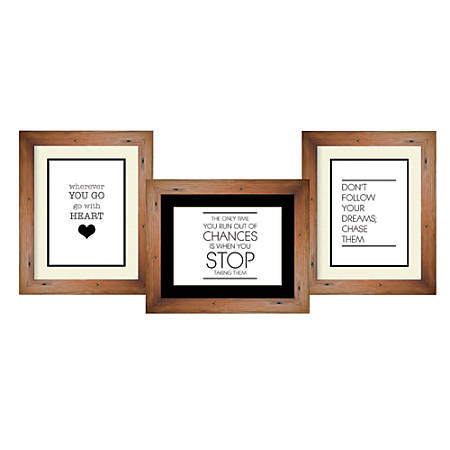 """PTM Images Photo Frame, Trio Collage, 16 1/2""""H x 1 3/4""""W x 39 1/2""""D, Natural Brown"""