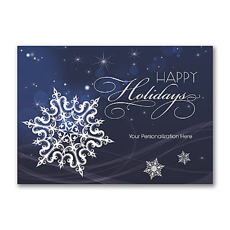 "Custom Full-Color Holiday Cards With Envelopes, 7-1/4"" x 5-1/8"", Falling Snowflakes, Box Of 25 Cards"