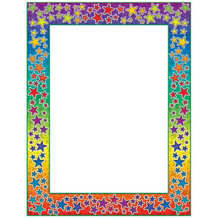 "Scholastic Colorful Design Paper, Rainbow Stars, 8 1/2"" x 11"", Pack Of 50"