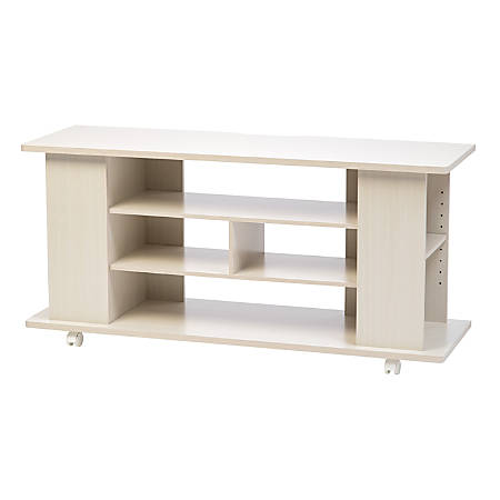 "IRIS Large TV Stand With Wheels, 22-3/8""H x 46-7/8""W x 15-5/16""D, White"
