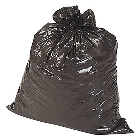 Genuine Joe 2-Ply Can Liners, 60 Gallons, Brown/Black, Box Of 100