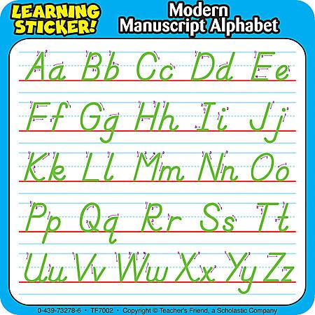 "Scholastic Reinforcement Stickers, Modern Manuscript, 4"" x 4"", Pack Of 20"