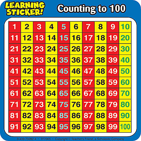 """Scholastic Reinforcement Stickers, Counting To 100, 4"""" x 4"""", Pack Of 20"""