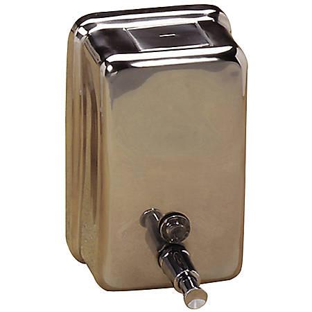 Genuine Joe Stainless Steel Soap Dispenser, Stainless Steel