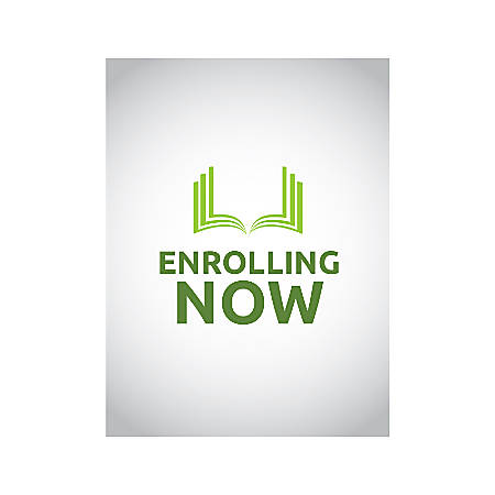 Plastic Sign, Enrolling Now Book, Vertical