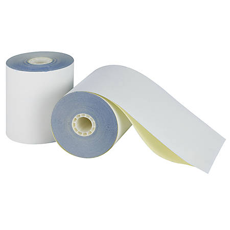 "Office Depot® 2-Ply Paper Rolls, 3 1/4"" x 96', Canary/White, Carton Of 60"