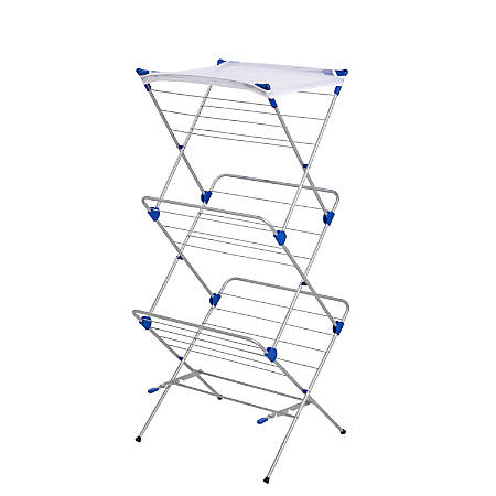 "Honey-Can-Do 3-Tier Mesh-Top Drying Rack, 59 1/4""H x 17""W x 23 1/2""D, Silver/Blue"