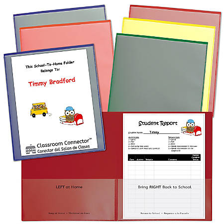 C-Line® Classroom Connector Folders, Letter Size, Assorted Colors, Pack Of 6