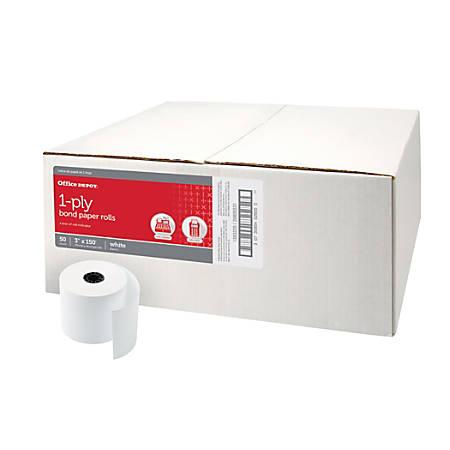Office Depot Brand Single Ply Paper Rolls 3 x 150 White Carton Of 50 ...